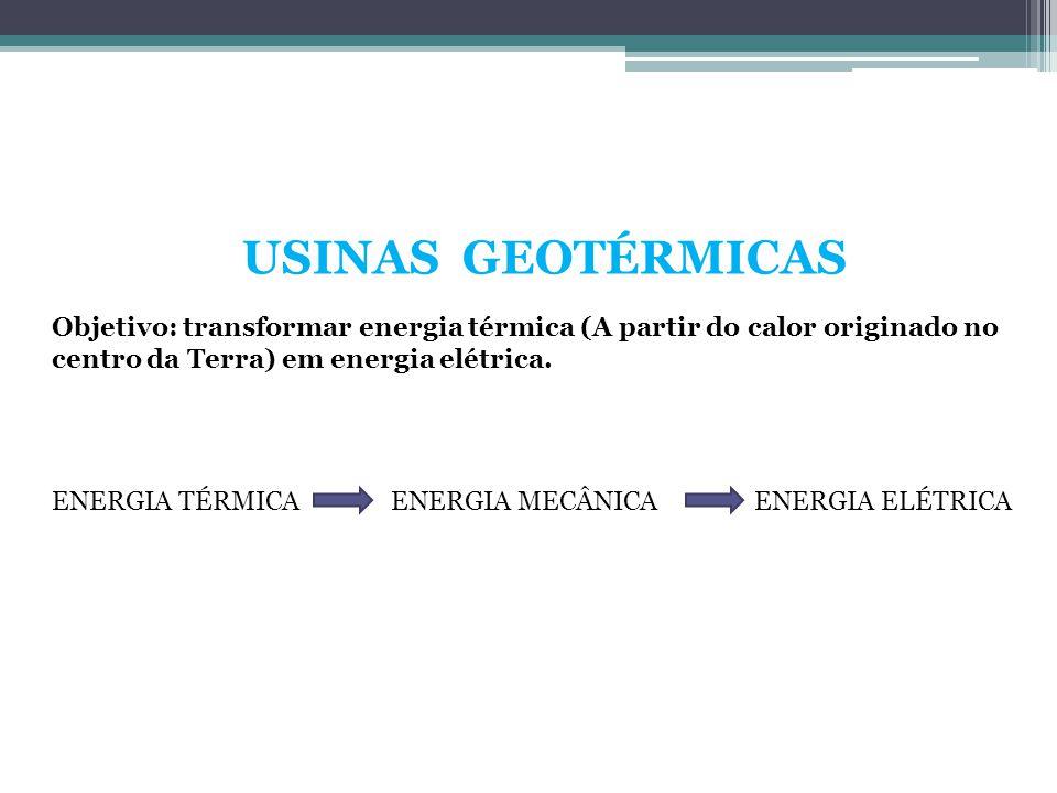 USINAS GEOTÉRMICAS Objetivo: transformar energia térmica (A partir do calor originado no centro da Terra) em energia elétrica. ENERGIA TÉRMICAENERGIA