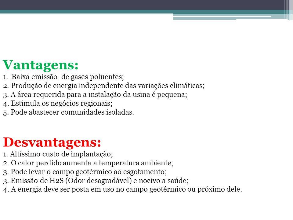 Vantagens: 1. Baixa emissão de gases poluentes; 2. Produção de energia independente das variações climáticas; 3. A área requerida para a instalação da