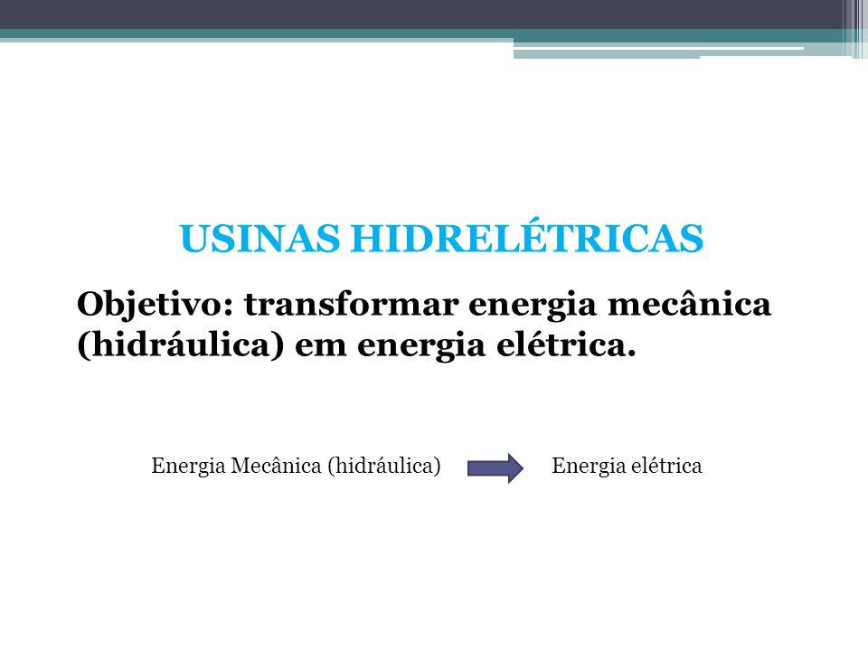 USINAS HIDRELÉTRICAS Objetivo: transformar energia mecânica (hidráulica) em energia elétrica. Energia Mecânica (hidráulica)Energia elétrica