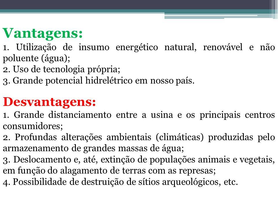Vantagens: 1. Utilização de insumo energético natural, renovável e não poluente (água); 2. Uso de tecnologia própria; 3. Grande potencial hidrelétrico