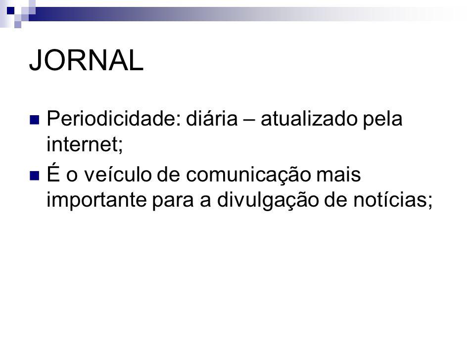 JORNAL Periodicidade: diária – atualizado pela internet; É o veículo de comunicação mais importante para a divulgação de notícias;