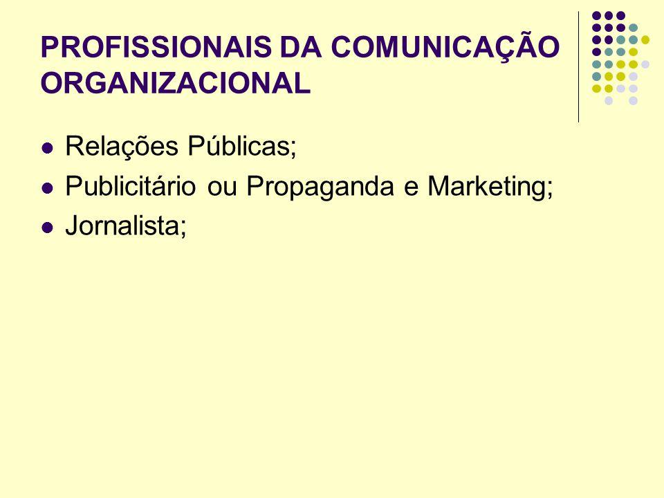 PROFISSIONAIS DA COMUNICAÇÃO ORGANIZACIONAL Relações Públicas; Publicitário ou Propaganda e Marketing; Jornalista;