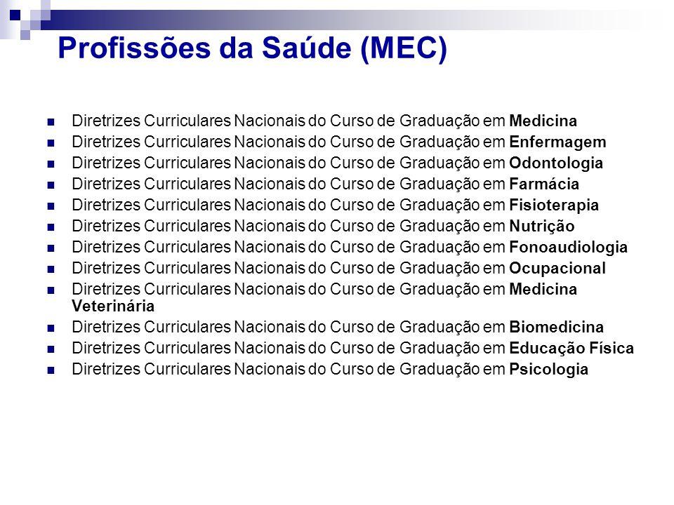 Profissões da Saúde (MEC) Diretrizes Curriculares Nacionais do Curso de Graduação em Medicina Diretrizes Curriculares Nacionais do Curso de Graduação em Enfermagem Diretrizes Curriculares Nacionais do Curso de Graduação em Odontologia Diretrizes Curriculares Nacionais do Curso de Graduação em Farmácia Diretrizes Curriculares Nacionais do Curso de Graduação em Fisioterapia Diretrizes Curriculares Nacionais do Curso de Graduação em Nutrição Diretrizes Curriculares Nacionais do Curso de Graduação em Fonoaudiologia Diretrizes Curriculares Nacionais do Curso de Graduação em Ocupacional Diretrizes Curriculares Nacionais do Curso de Graduação em Medicina Veterinária Diretrizes Curriculares Nacionais do Curso de Graduação em Biomedicina Diretrizes Curriculares Nacionais do Curso de Graduação em Educação Física Diretrizes Curriculares Nacionais do Curso de Graduação em Psicologia