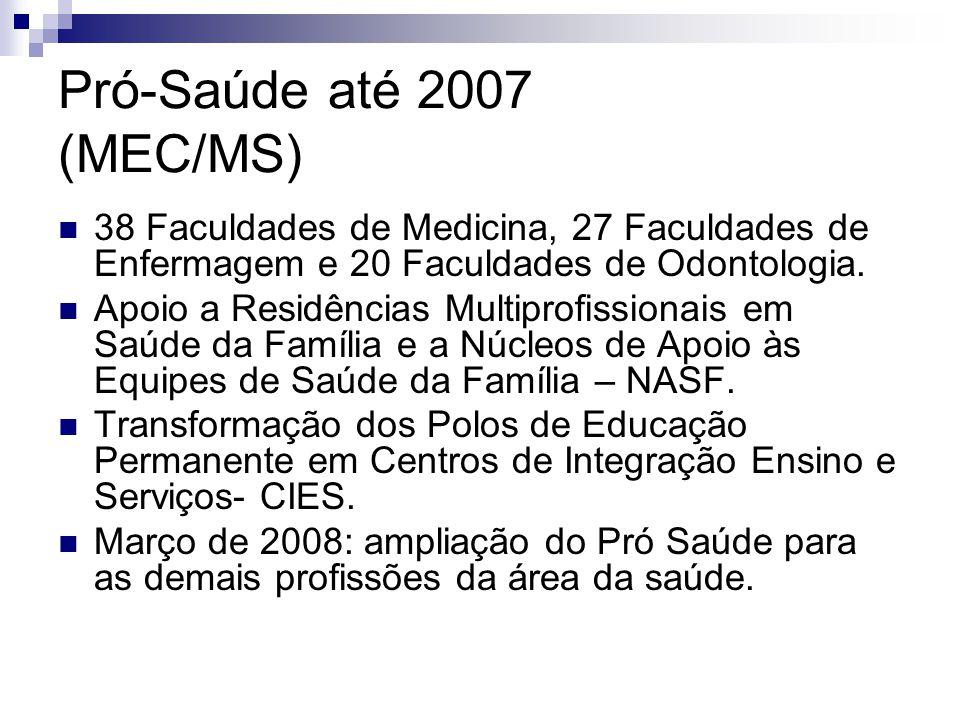 Pró-Saúde até 2007 (MEC/MS) 38 Faculdades de Medicina, 27 Faculdades de Enfermagem e 20 Faculdades de Odontologia.