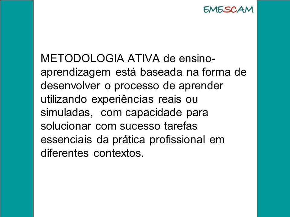 A Metodologia Ativa é a aprendizagem significativa, baseada em : *resolução de problemas, * problematização de fatos ou situações, de forma a levar os estudantes *compreensão dos estudantes para o fato estudado