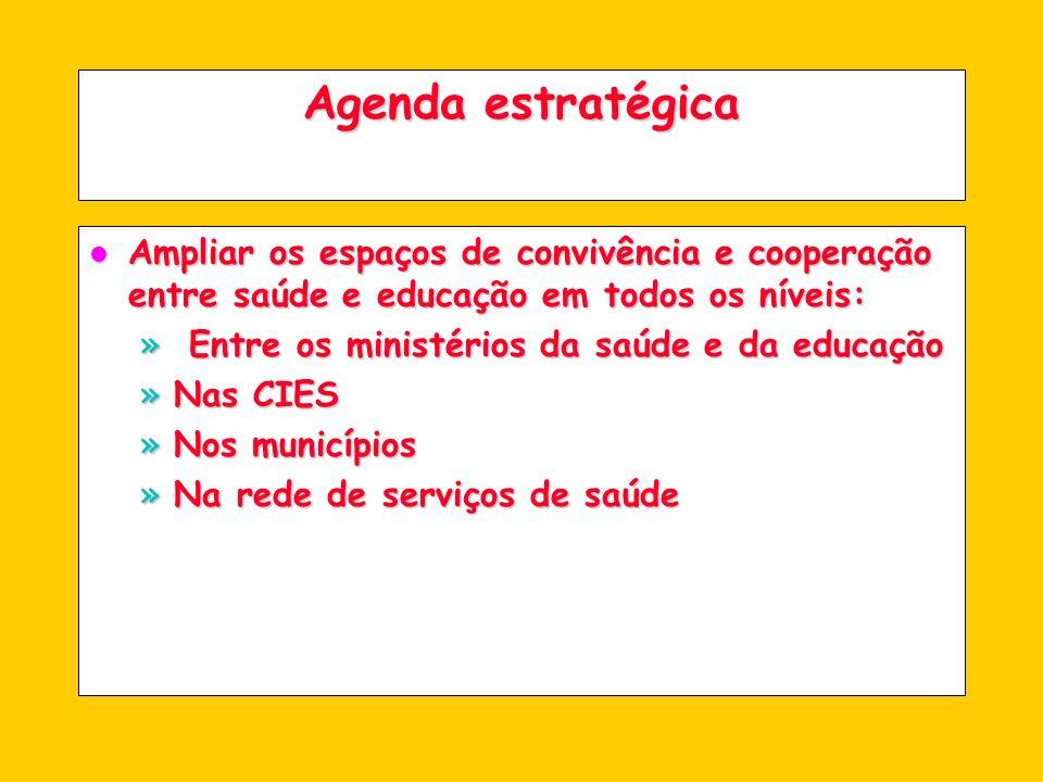 Agenda estratégica l Consolidar as CIES como instâncias do SUS que articulam saúde e educação: porque a política de educação é intersetorial!!.