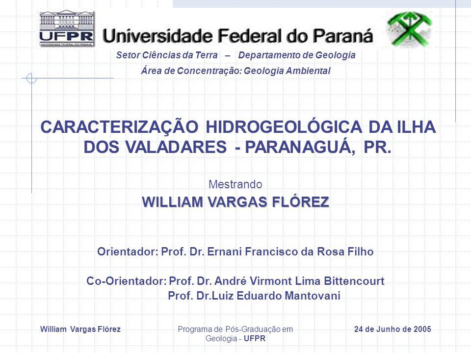 William Vargas FlórezPrograma de Pós-Graduação em Geologia - UFPR 24 de Junho de 2005 Setor Ciências da Terra – Departamento de Geologia CARACTERIZAÇÃO HIDROGEOLÓGICA DA ILHA DOS VALADARES - PARANAGUÁ, PR.