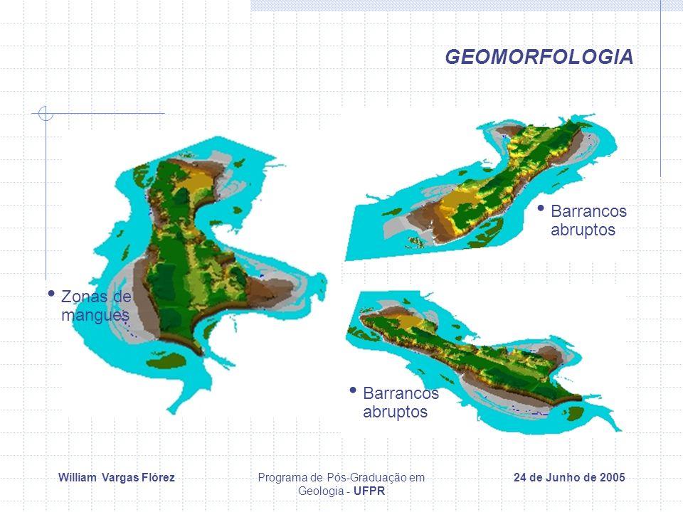 William Vargas FlórezPrograma de Pós-Graduação em Geologia - UFPR 24 de Junho de 2005 GEOMORFOLOGIA Zonas de mangues Barrancos abruptos Barrancos abruptos