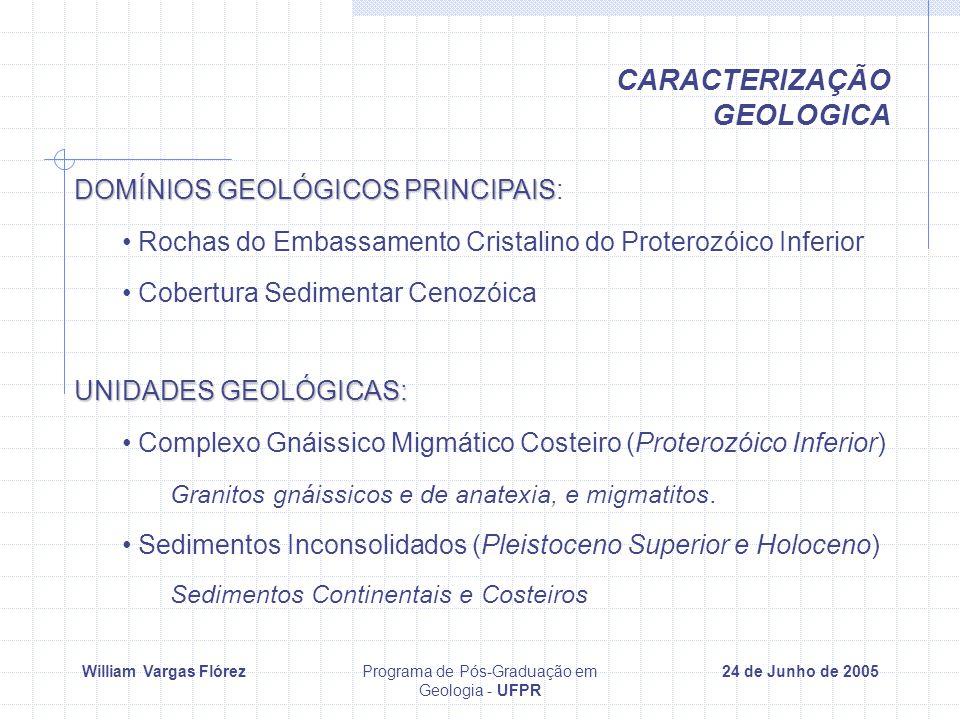 William Vargas FlórezPrograma de Pós-Graduação em Geologia - UFPR 24 de Junho de 2005 CARACTERIZAÇÃO GEOLOGICA UNIDADES GEOLÓGICAS: Complexo Gnáissico Migmático Costeiro (Proterozóico Inferior) Granitos gnáissicos e de anatexia, e migmatitos.