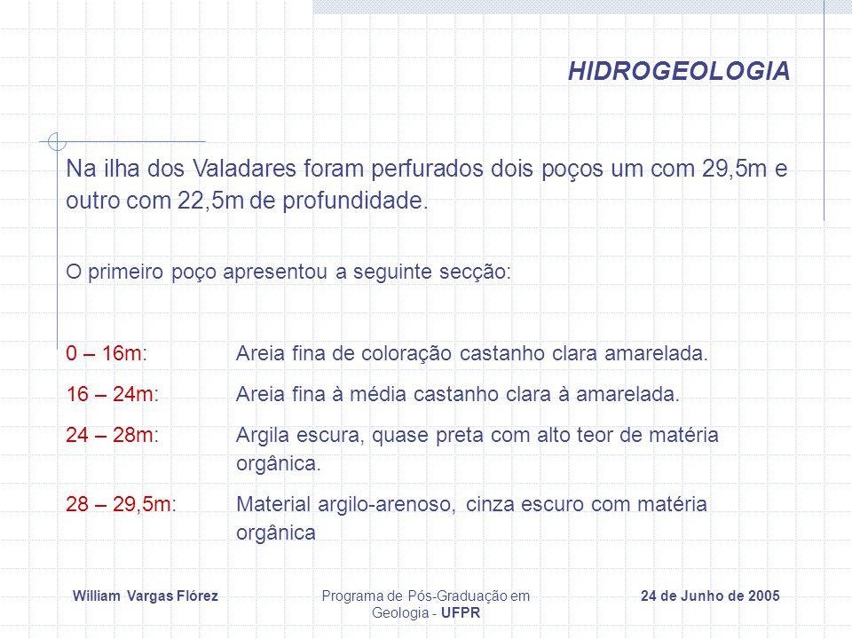 William Vargas FlórezPrograma de Pós-Graduação em Geologia - UFPR 24 de Junho de 2005 HIDROGEOLOGIA Na ilha dos Valadares foram perfurados dois poços um com 29,5m e outro com 22,5m de profundidade.
