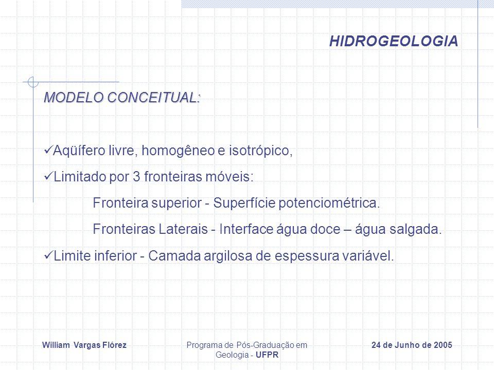 William Vargas FlórezPrograma de Pós-Graduação em Geologia - UFPR 24 de Junho de 2005 HIDROGEOLOGIA MODELO CONCEITUAL: Aqüífero livre, homogêneo e isotrópico, Limitado por 3 fronteiras móveis: Fronteira superior - Superfície potenciométrica.
