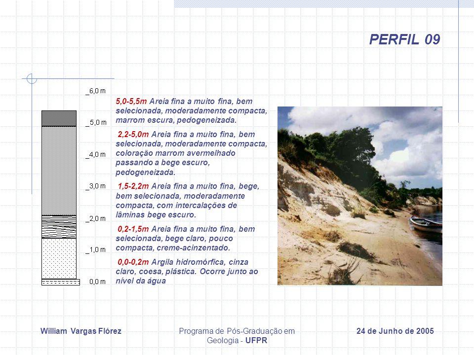William Vargas FlórezPrograma de Pós-Graduação em Geologia - UFPR 24 de Junho de 2005 PERFIL 09 5,0-5,5m Areia fina a muito fina, bem selecionada, moderadamente compacta, marrom escura, pedogeneizada.