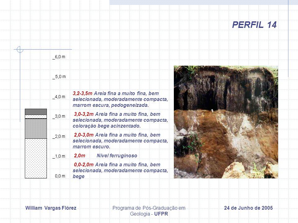 William Vargas FlórezPrograma de Pós-Graduação em Geologia - UFPR 24 de Junho de 2005 PERFIL 14 3,2-3,5m Areia fina a muito fina, bem selecionada, moderadamente compacta, marrom escura, pedogeneizada.