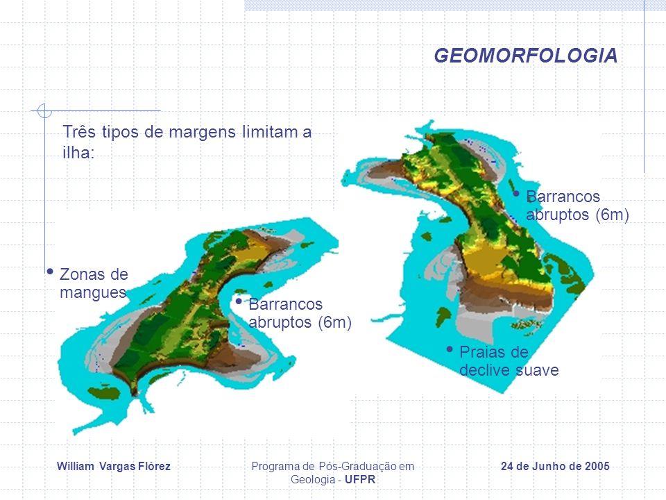 William Vargas FlórezPrograma de Pós-Graduação em Geologia - UFPR 24 de Junho de 2005 GEOMORFOLOGIA Três tipos de margens limitam a ilha: Praias de declive suave Barrancos abruptos (6m) Zonas de mangues Barrancos abruptos (6m)