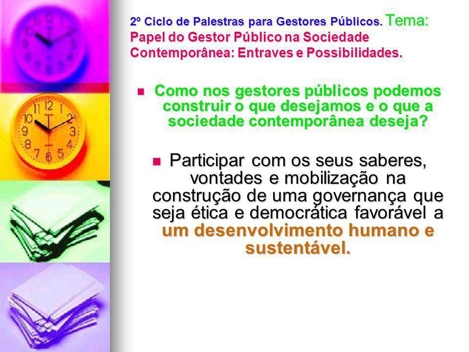 2º Ciclo de Palestras para Gestores Públicos.