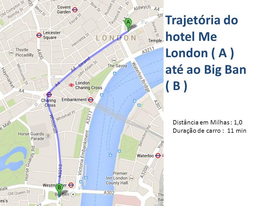 Trajetória do hotel Me London ( A ) até ao Big Ban ( B ) Distância em Milhas : 1,0 Duração de carro : 11 min