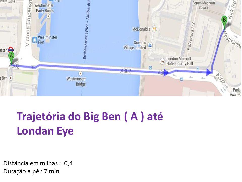 Distância em milhas : 0,4 Duração a pé : 7 min Trajetória do Big Ben ( A ) até Londan Eye