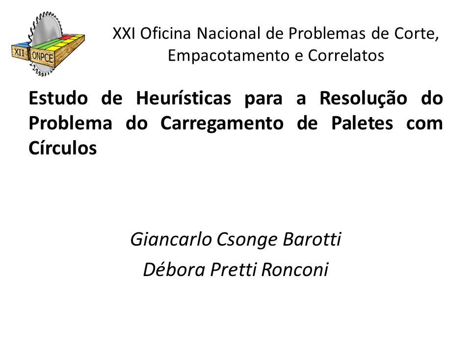 XXI Oficina Nacional de Problemas de Corte, Empacotamento e Correlatos Estudo de Heurísticas para a Resolução do Problema do Carregamento de Paletes c