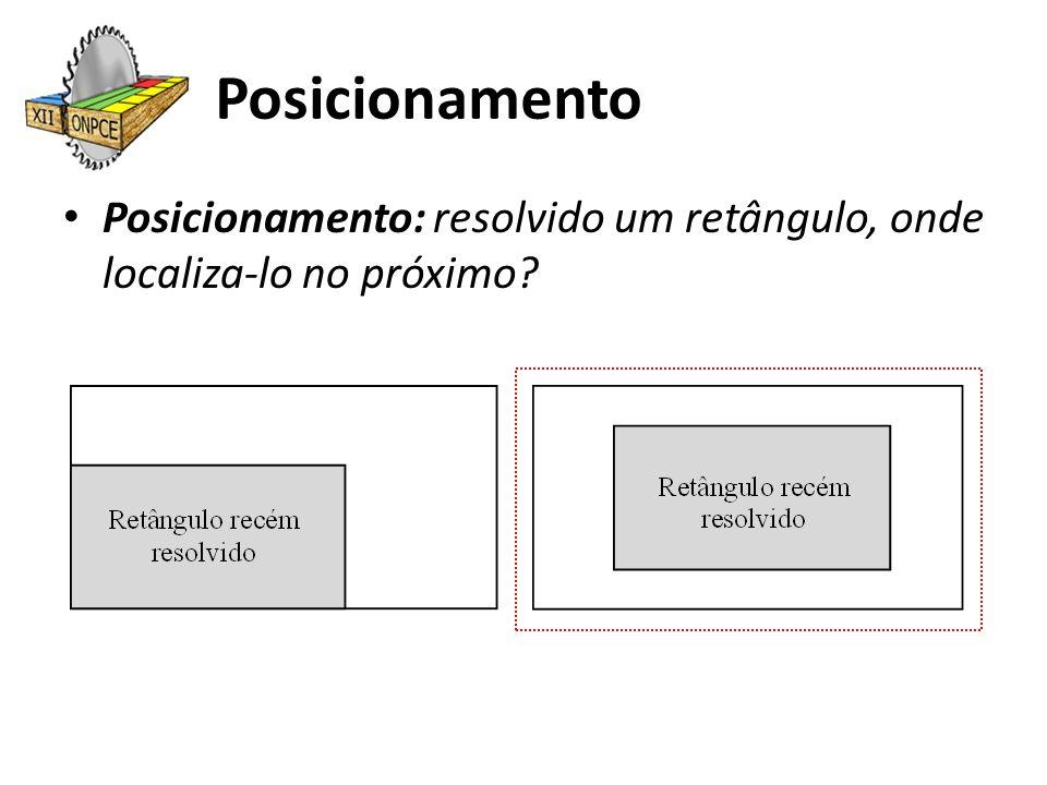 Posicionamento Posicionamento: resolvido um retângulo, onde localiza-lo no próximo?