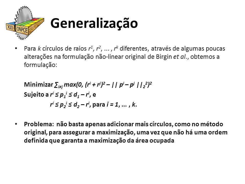 Generalização Para k círculos de raios r 1, r 2,..., r k diferentes, através de algumas poucas alterações na formulação não-linear original de Birgin