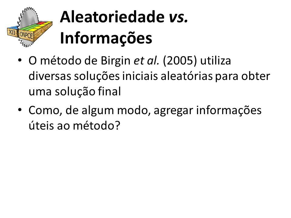 Aleatoriedade vs. Informações O método de Birgin et al. (2005) utiliza diversas soluções iniciais aleatórias para obter uma solução final Como, de alg