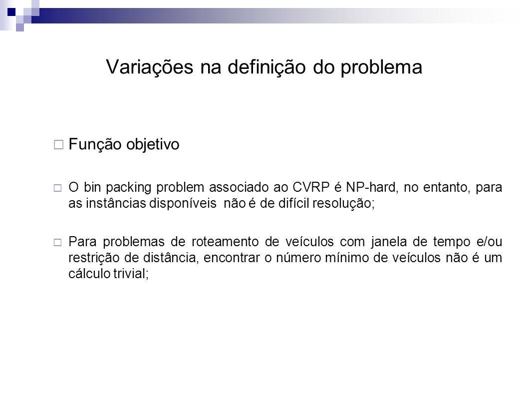 Variações na definição do problema  Função objetivo  O bin packing problem associado ao CVRP é NP-hard, no entanto, para as instâncias disponíveis não é de difícil resolução;  Para problemas de roteamento de veículos com janela de tempo e/ou restrição de distância, encontrar o número mínimo de veículos não é um cálculo trivial;