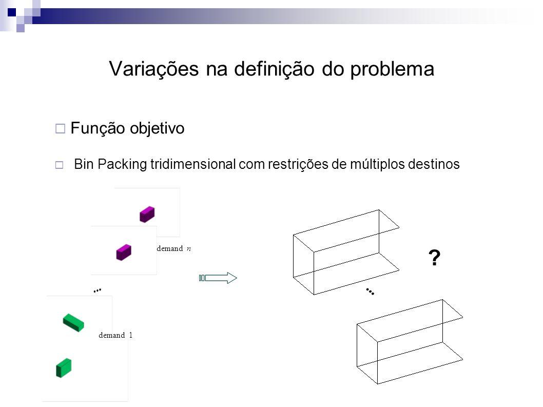 Variações na definição do problema  Função objetivo  Bin Packing tridimensional com restrições de múltiplos destinos demand n demand 1