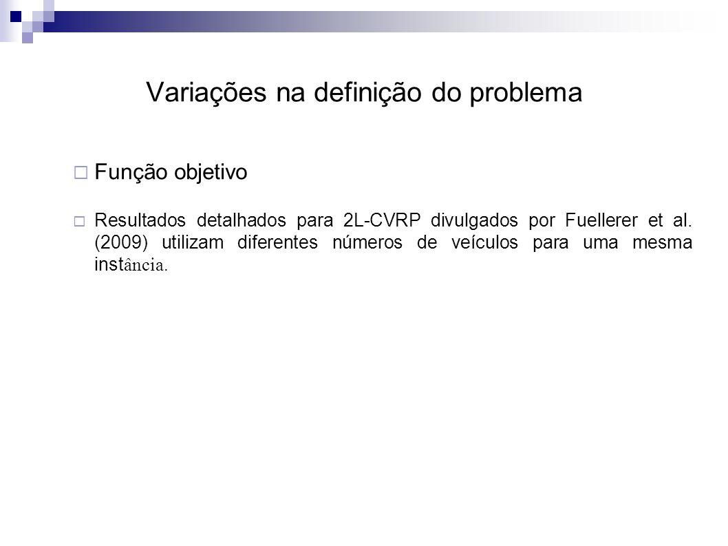 Variações na definição do problema  Função objetivo  Resultados detalhados para 2L-CVRP divulgados por Fuellerer et al.