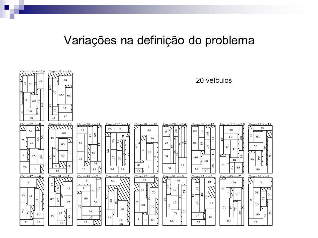 Variações na definição do problema 20 veículos