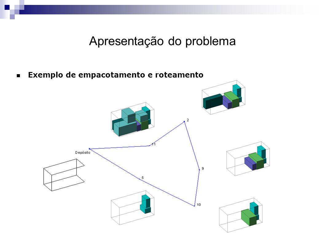 Apresentação do problema Exemplo de empacotamento e roteamento