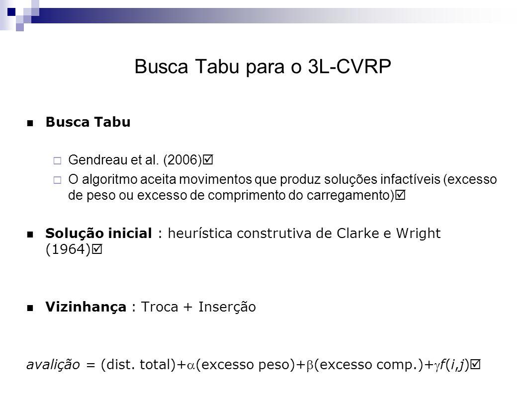 Busca Tabu para o 3L-CVRP Busca Tabu  Gendreau et al.