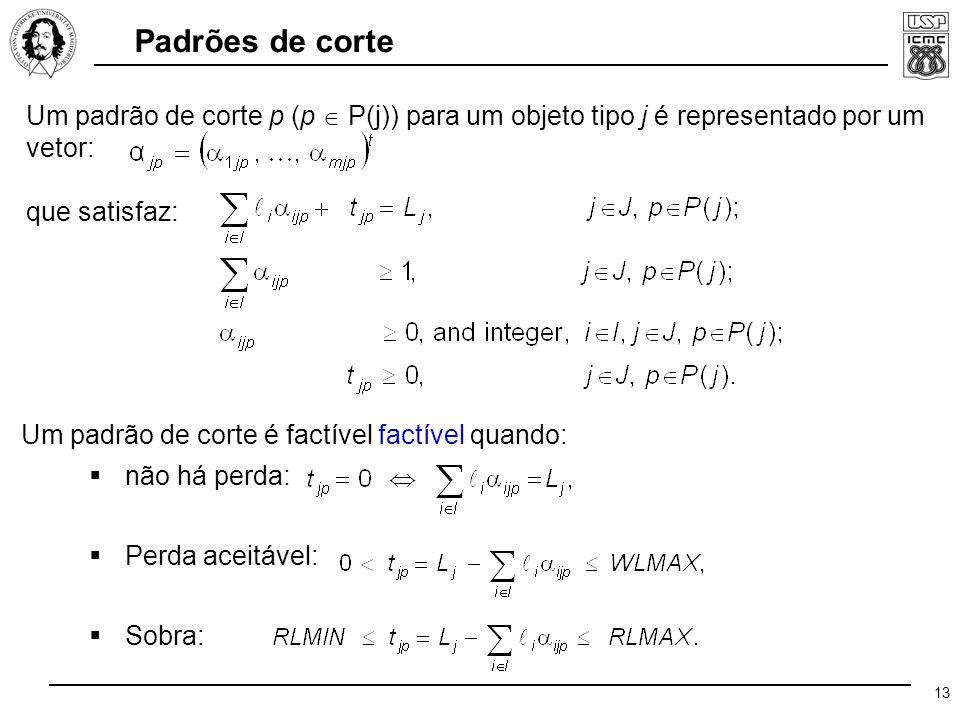 13 Um padrão de corte p (p  P(j)) para um objeto tipo j é representado por um vetor: que satisfaz: Um padrão de corte é factível factível quando:  não há perda:  Perda aceitável:  Sobra: Padrões de corte
