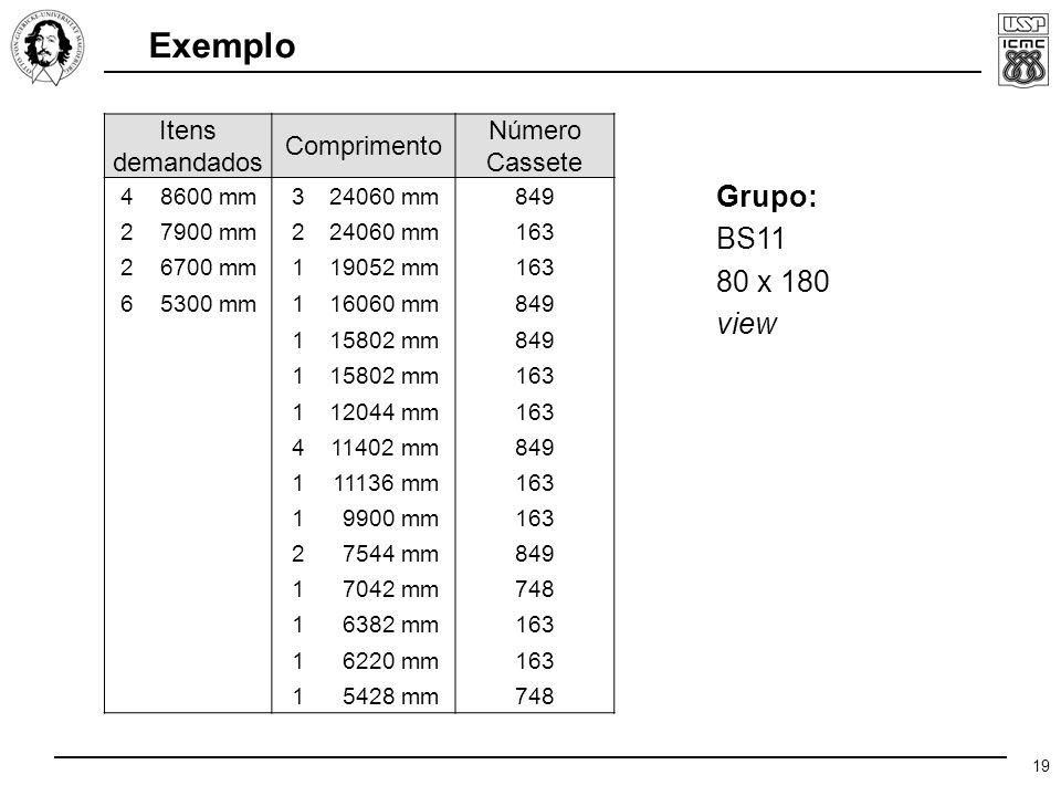 19 Exemplo Itens demandados Comprimento Número Cassete 4 8600 mm324060 mm849 2 7900 mm224060 mm163 2 6700 mm119052 mm163 6 5300 mm116060 mm849 115802 mm849 115802 mm163 112044 mm163 411402 mm849 111136 mm163 19900 mm163 27544 mm849 17042 mm748 16382 mm163 16220 mm163 15428 mm748 Grupo: BS11 80 x 180 view