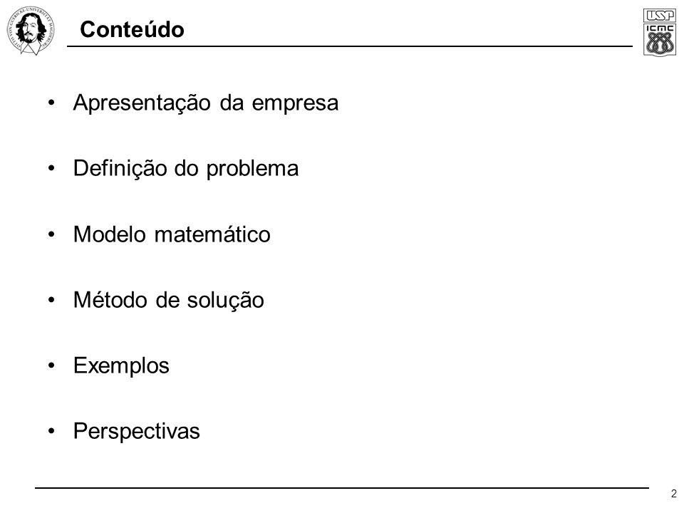 2 Conteúdo Apresentação da empresa Definição do problema Modelo matemático Método de solução Exemplos Perspectivas