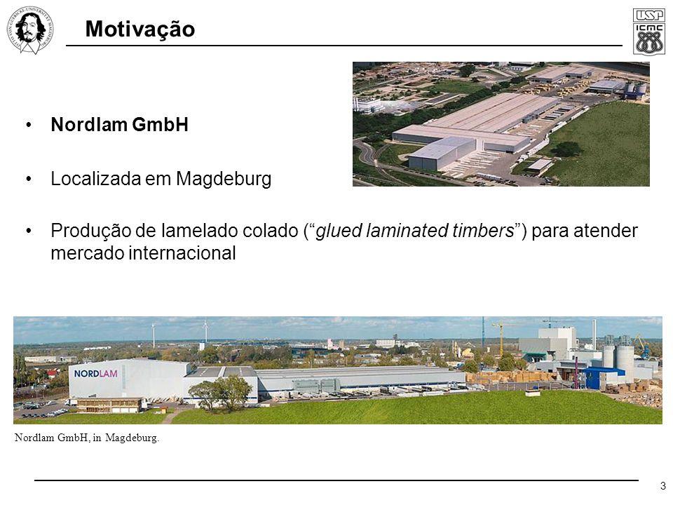 3 Motivação Produção de lamelado colado ( glued laminated timbers ) para atender mercado internacional Nordlam GmbH, in Magdeburg.