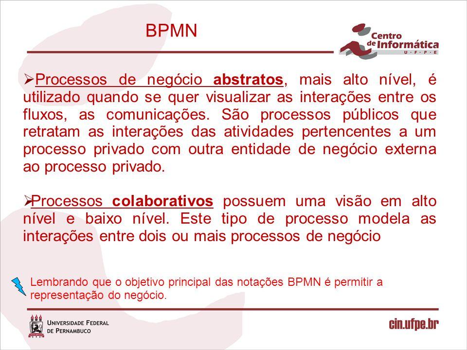 BPMN  Processos de negócio abstratos, mais alto nível, é utilizado quando se quer visualizar as interações entre os fluxos, as comunicações. São proc