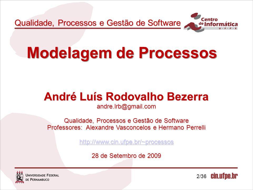 2/36 Qualidade, Processos e Gestão de Software André Luís Rodovalho Bezerra andre.lrb@gmail.com Qualidade, Processos e Gestão de Software Professores:
