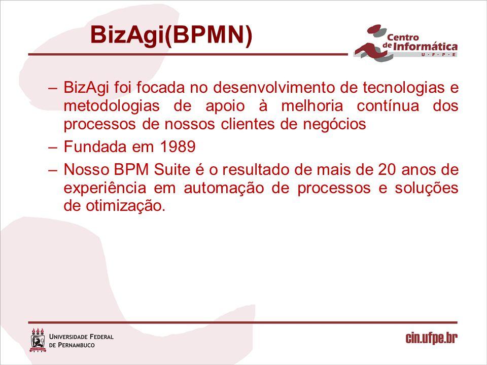 BizAgi(BPMN) –BizAgi foi focada no desenvolvimento de tecnologias e metodologias de apoio à melhoria contínua dos processos de nossos clientes de negó
