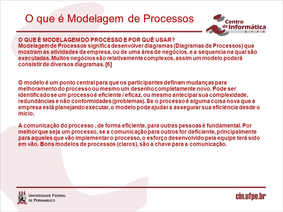O que é Modelagem de Processos Modelagem de Processos significa desenvolver diagramas (Diagramas de Processos) que mostram as atividades da empresa ou de uma área de negócios e a seqüência na qual são executadas.