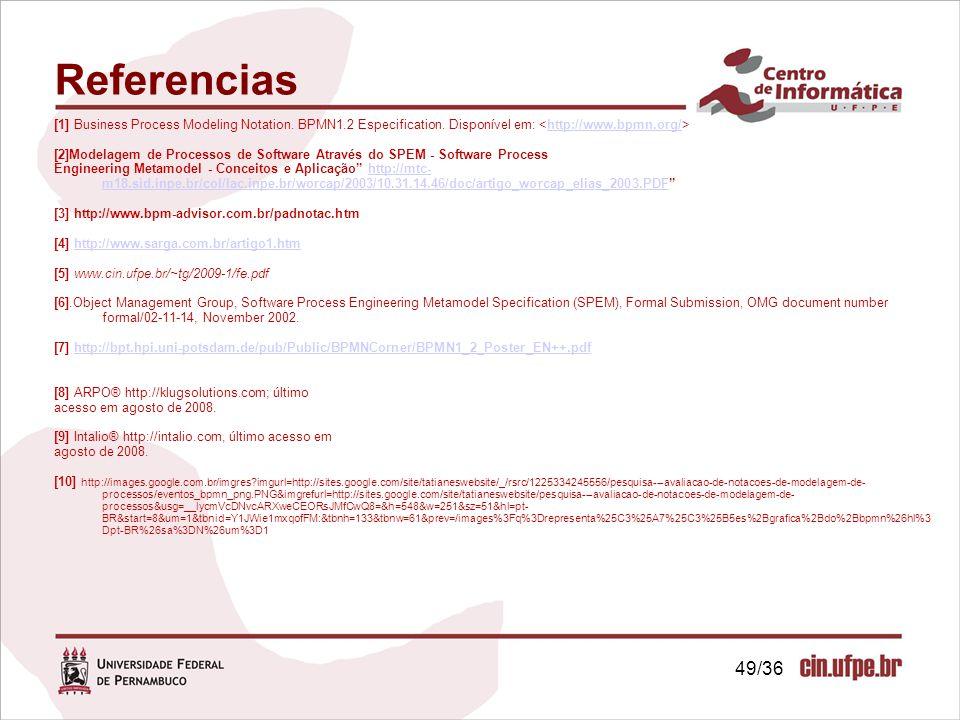 [1] Business Process Modeling Notation. BPMN1.2 Especification. Disponível em: http://www.bpmn.org/ [2]Modelagem de Processos de Software Através do S