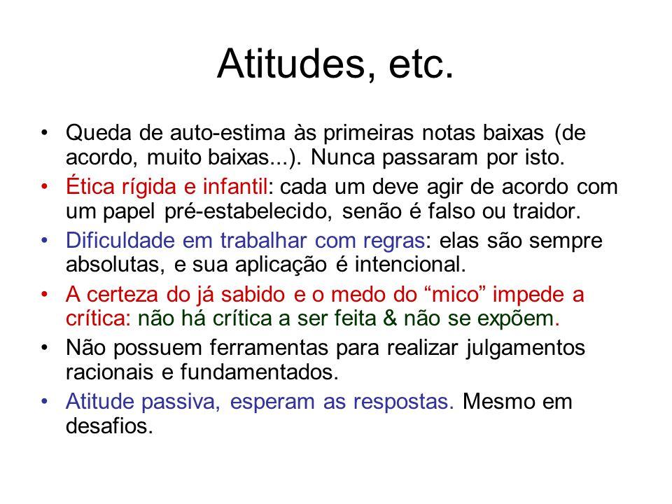 Atitudes, etc. Queda de auto-estima às primeiras notas baixas (de acordo, muito baixas...).