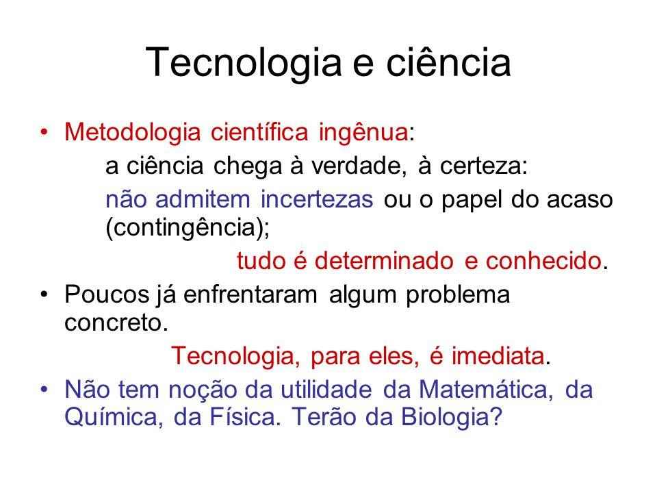 Tecnologia e ciência Metodologia científica ingênua: a ciência chega à verdade, à certeza: não admitem incertezas ou o papel do acaso (contingência); tudo é determinado e conhecido.
