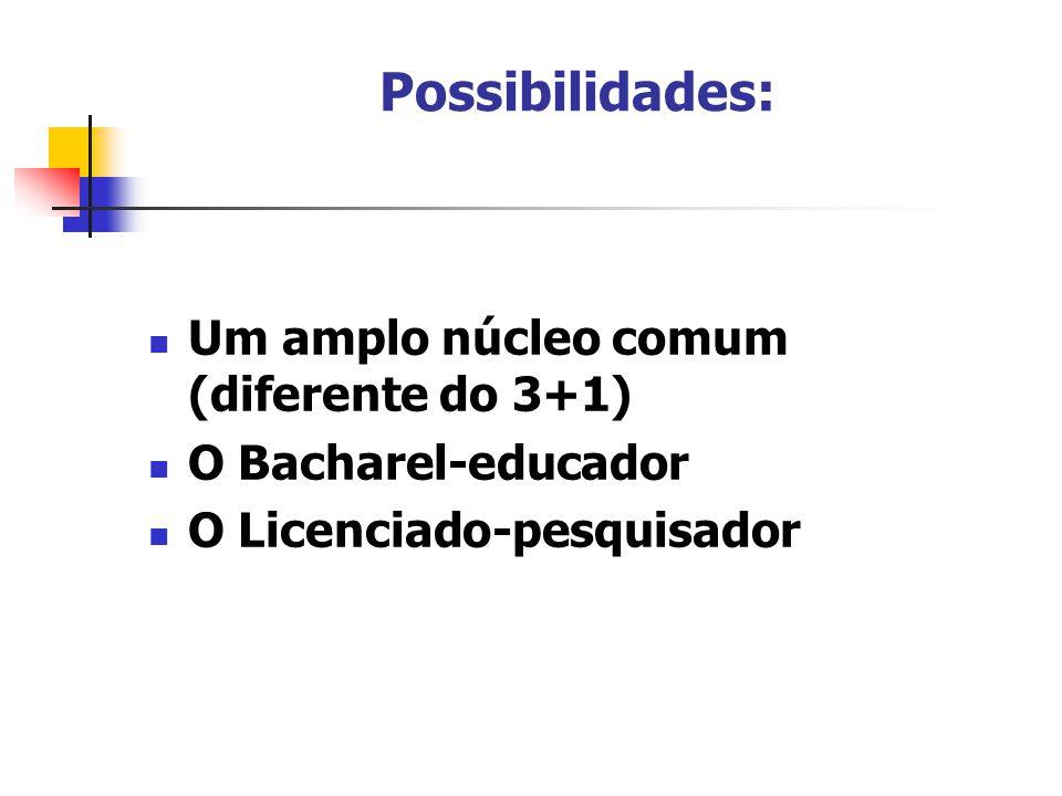 Possibilidades: Um amplo núcleo comum (diferente do 3+1) O Bacharel-educador O Licenciado-pesquisador