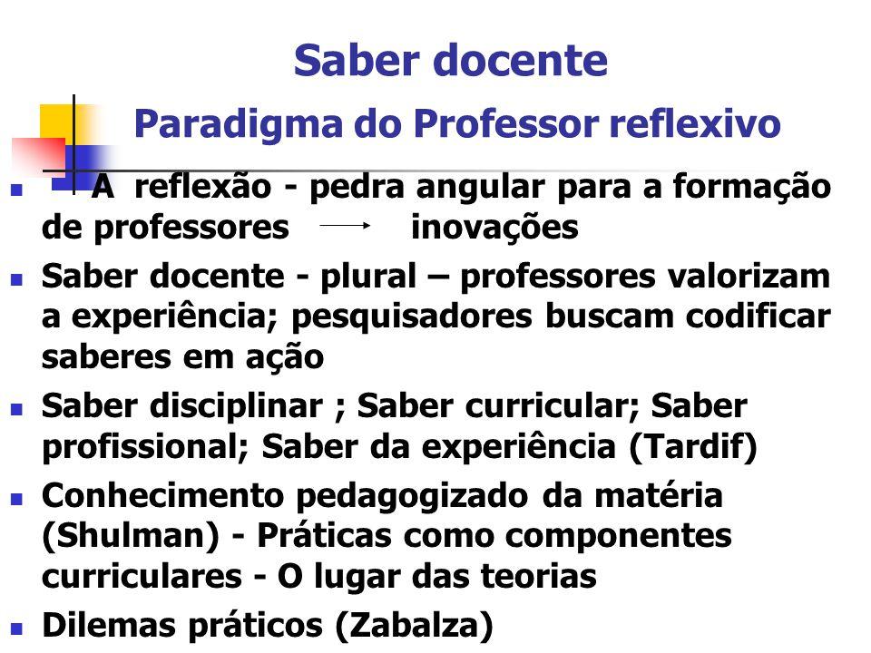 Saber docente Paradigma do Professor reflexivo A reflexão - pedra angular para a formação de professores inovações Saber docente - plural – professore