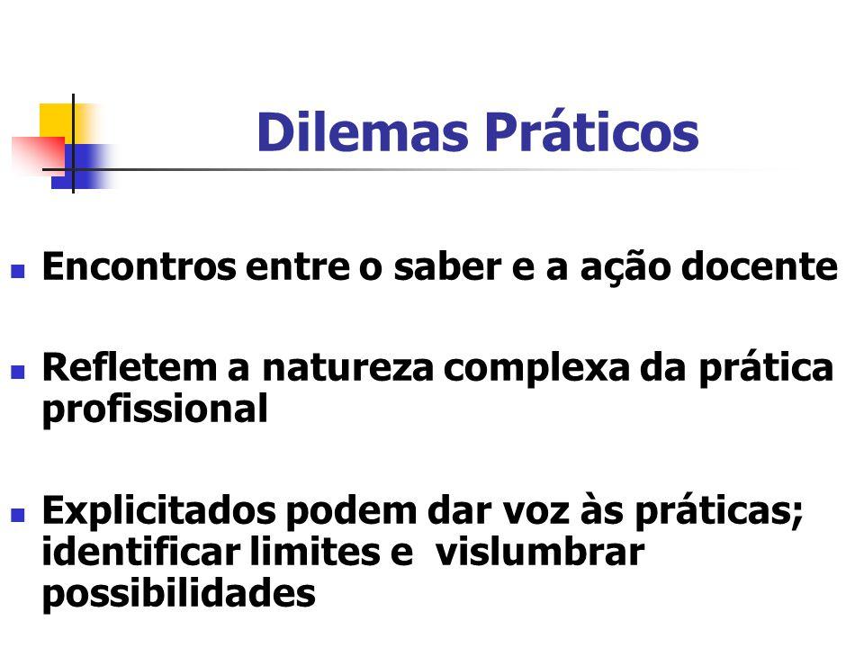 Dilemas Práticos Encontros entre o saber e a ação docente Refletem a natureza complexa da prática profissional Explicitados podem dar voz às práticas; identificar limites e vislumbrar possibilidades