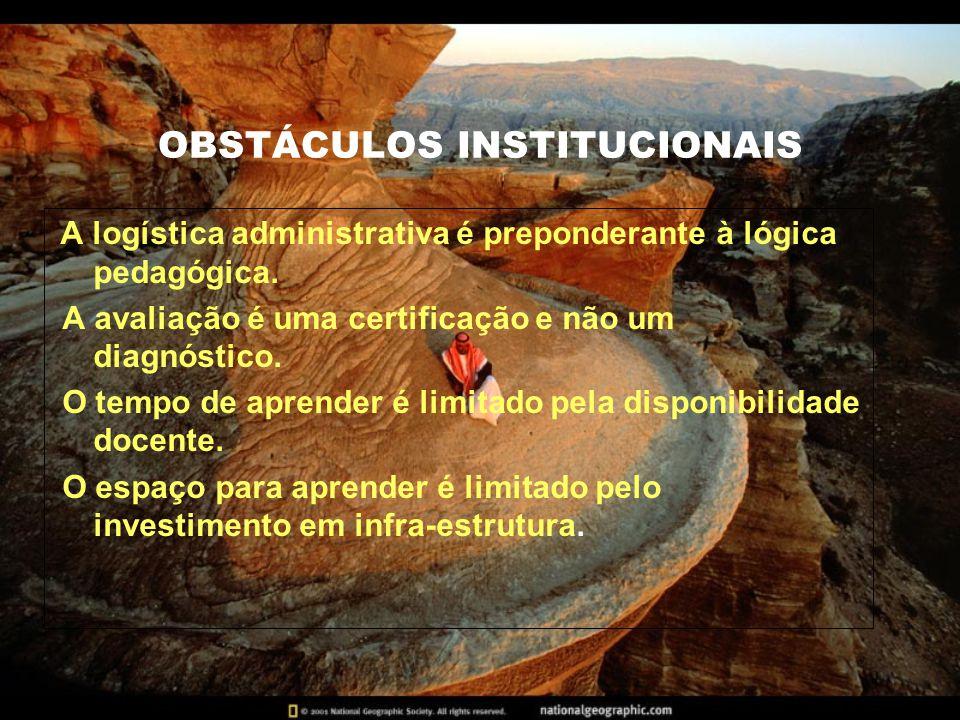 OBSTÁCULOS INSTITUCIONAIS A logística administrativa é preponderante à lógica pedagógica.