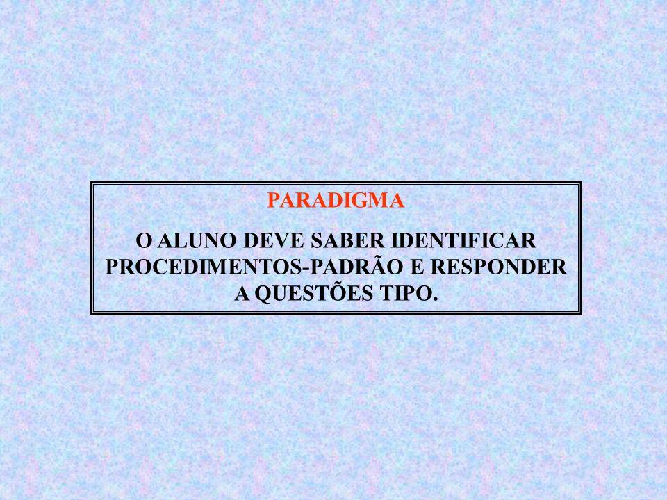 PARADIGMA O ALUNO DEVE SABER IDENTIFICAR PROCEDIMENTOS-PADRÃO E RESPONDER A QUESTÕES TIPO.