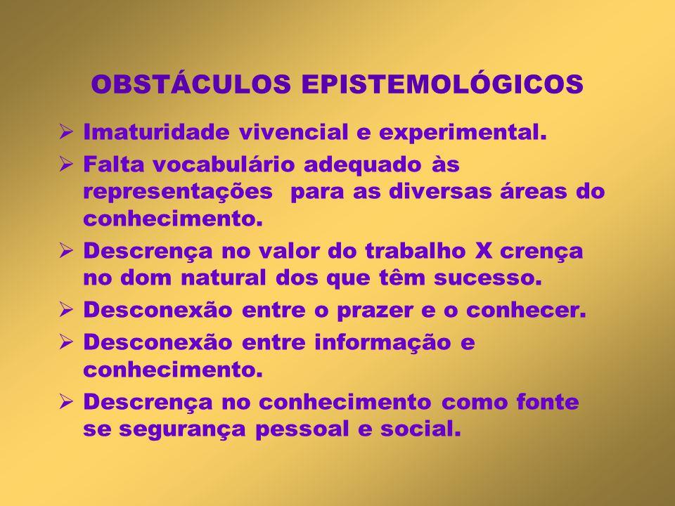OBSTÁCULOS EPISTEMOLÓGICOS  Imaturidade vivencial e experimental.