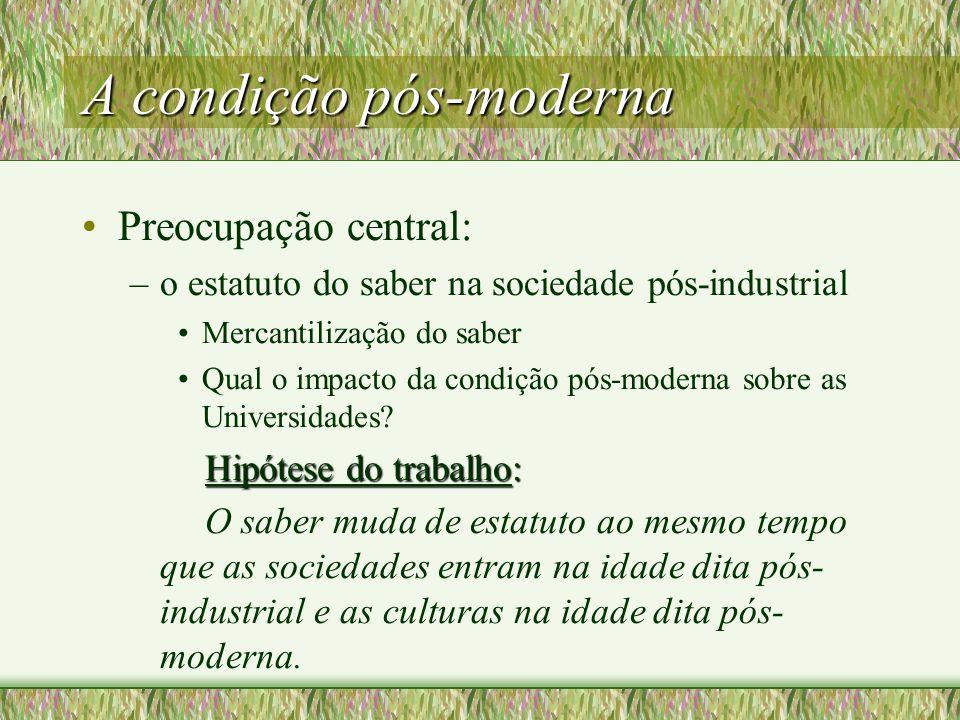 A condição pós-moderna Preocupação central: –o estatuto do saber na sociedade pós-industrial Mercantilização do saber Qual o impacto da condição pós-moderna sobre as Universidades.