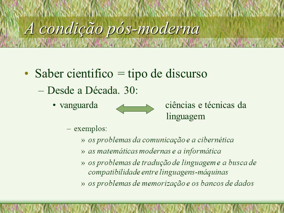 A condição pós-moderna Saber cientifico = tipo de discurso –Desde a Década.